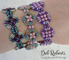 Cirque Bracelet & Earrings beaded pattern tutorial by Deb Roberti