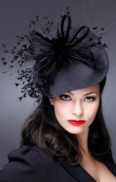 Smart Black Percher Hat. Fascinator Hats 246ab0854fd