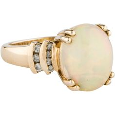 Pre-owned 14K Opal Cocktail Ring ($495) ❤ liked on Polyvore featuring jewelry, rings, cocktail rings, preowned rings, opal jewellery, 14k jewelry and pre owned rings