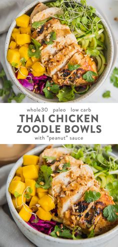 "This Thai chicken zoodle bowl with ""peanut"" sauce is light yet filling, refreshing and full of flavor. Perfect for spring and summer! Low carb and paleo, this Thai chicken zoodle bowl has a rich ""peanut"" sauce (that's peanut-free, of Dieta Paleo, Low Carb Recipes, Diet Recipes, Healthy Recipes, Paleo Food, Curry Recipes, Low Carb Summer Recipes, Healthy Foods, Vegetarian Recipes"