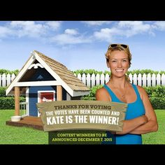 """katebuilds: """"It's official I received the most votes for my doghouse and have been crowned the champion on the """"Get into the Doghouse"""" promotion with @certainteedcorp sustainable insulation!! Thank you to all of those who entered our promotion!! Voting has closed and the winners for the contest will be announced on December 7th. Good luck to all those who entered. @officialdamonbennett was a tough competitor!! #katebuilds #womenbuild #winner #doghouse #certainteed"""""""