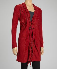 Loving this Red Embroidered Linen-Blend Duster on #zulily! #zulilyfinds