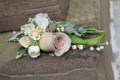 Groom's Boutonniere of fresh Lily of the Valley, Wax Flower, Metalina Rose