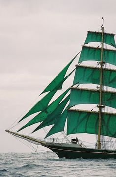 Green sails to Ireland:) love ships:)