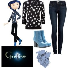 I would buy a black sweater and just hot glue stick the starts on but who would of thought that coraline would be so easy ? Casual Cosplay, Cosplay Outfits, Cosplay Costumes, Halloween Costumes, Cosplay Diy, Coraline Jones, Coraline Doll, Character Inspired Outfits, Disney Outfits