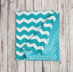 Sale!! Teal Chevron Baby Blanket, Teal and White Minky Baby Blanket by ModernBabyDesign on Etsy