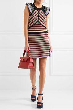 ALEXACHUNG | Striped crochet-knit cotton-blend top | NET-A-PORTER.COM
