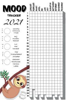 #moodtracker #sloth #printable #Sjelly #procreate Journal, Stressed Out