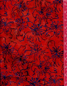 Indonesian Batik Red with Blue Floral on Black by julies5150world