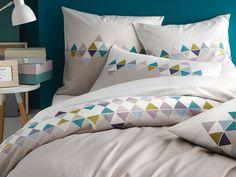 Housse de couette bicolore 100% coton frise triangles scandinaves gris ESPRIT…