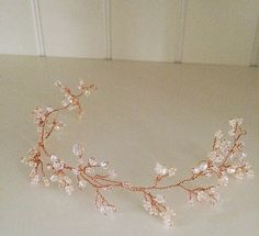Rose Gold Swarovski Crystal and freshwater pearl hair vine. More