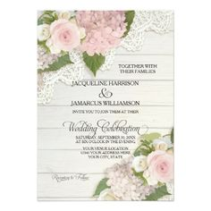 Backyard Wedding Invitations Rustic Country Lace Wood n Pink Hydrangeas Wedding Card