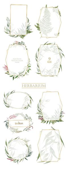 Watercolor Frames Leaves Pre-made clipart green floral