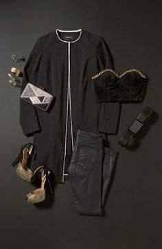 NYE Outfit: All black style with gold, sparkly accessories