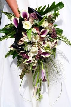Picasso Calla Lilies, Metalina, Amnesia & Akito Roses, Astrantia, Lily of the Valley and Fresh Stephanotis Cascading Wedding Bouquets, Vintage Wedding Flowers, Cascade Bouquet, Bride Bouquets, Bridal Flowers, Floral Wedding, Fall Bouquets, Vintage Weddings, Bouquet Wedding