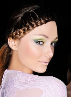 Side braid and vivid green eyes. Napoleon Perdis for Ms Couture