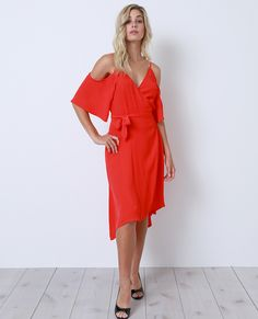 State Of Mind Wrap Dress Red