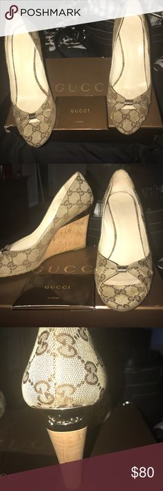 100% Gucci wedges with dust wedges These are beautiful wedges by Gucci 100% authentic have card and dust bad worn once the pictures look like they are little dirty but they are flawless on the Gucci shoe Gucci Shoes Wedges