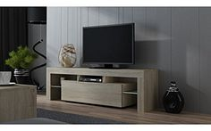 TV Stand MILANO 160 Matte line  Modern LED TV Cabinet  Tv Console fit for up to 70 flat TVs  Capacity Tv Console Sonoma Oak  Sonoma Oak  no gloss * Click on the image for additional details.