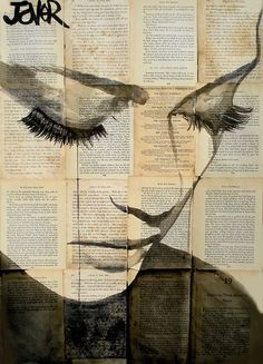 """Loui Jover is a talented artist from Australia """"Right now I like making ink drawings on adhered together sheets of vintage book paper, there is a fragility Newspaper Painting, Newspaper Drawing, Newspaper Canvas, Newspaper Collage, Drawing Birds, Lady Drawing, Painting On Black Canvas, Paintings On Canvas, Black And White Painting"""