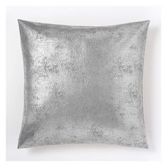 """West Elm Metallic Foil Pillow Cover, 20""""x20"""", Silver ($44) ❤ liked on Polyvore featuring home, home decor, throw pillows, silver home accessories, holiday throw pillows, silver home decor, metallic throw pillows and west elm"""