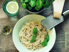 Spaghetti with the olive oil and the basil