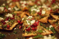 thehampsteadkitchen :: Smoked aubergine with feta, chill & mint on baked sea salt & cumin pitta crisps