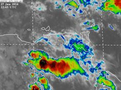 Sur de Anzoátegui, y Sur de Monagas, con nubosidad productora de lluvias asociadas al paso de Ondas Tropical