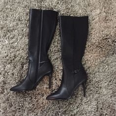 "Black Leather Boots 4"" heel. Excellent condition! There are a few spots as shown in the last 2 pics. The first the leather at the little stitching part is scuffed off and there is a little spot on the toe of the left boot as shown in the second. Charles David Shoes Heeled Boots"