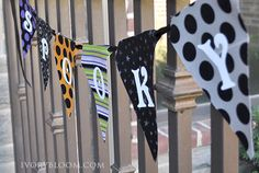 Fabric Duck Tape Banner step-by-step on ivorybloom.com #halloween #pennant #vinyl lettering