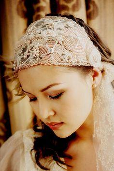 Bridal beaded cap veil tied cap veil ADELLE - vintage wedding ON SALE now - was 150GBP