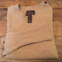 NWOT Cashmere Sweater with Button Shoulder. NWOT 100% cashmere. Button detail at shoulder. Long sleeves, hits at the hip. Anthropologie Sweaters Crew & Scoop Necks