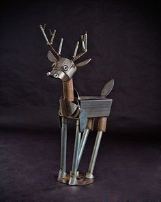 ironmaidart Deer Scrap Metal Sculpture Recycled Metal