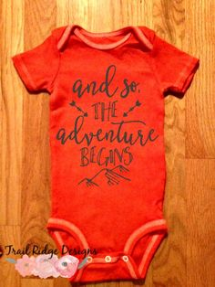 Tangerine Dyed Onesie, Adventure Begins Onesie, Hand Dyed Onesie, Mountain Adventure Onesie by TrailRidgeDesigns on Etsy