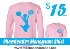 Cheerleader+Monogram+Tshirt++front+and+back+by+SandSApplique
