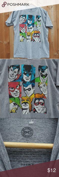 DC Comics Originals Superhero T - Shirt Official DC Comics Originals Tee Gray shirt features 9 DC Superheros in classic artwork Men's Large DC Shirts Tees - Short Sleeve