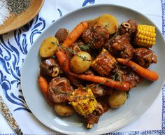 Ingredients : Lamb knuckles 3 shallots, quartered 3 garlic cloves, crushed 5 rosemary sprigs 5 thyme sprigs 1 bouquet garni 340 ml lamb stock (use what you can f… Baby Potatoes, Baby Carrots, Sweet Corn, Chicken Wings, Lamb, Food, Candy Corn, Essen, Meals