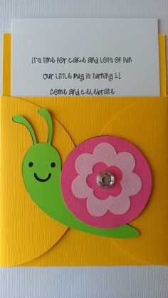 Pick your colors, pick your bugs or theme Garden Party Theme, Folder Decorado, Pocket Invitation, Name Banners, Chenille, Pocket Cards, Happy Birthday Banners, Kids Cards, Envelopes