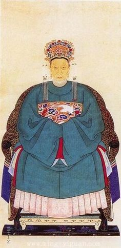Portrait of Ming dynasty noblewomen wearing Chang-ao with mandarin square