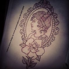 guendouglas: I've been asked to do two cameos this week… Such a classic and feminine icon! I looooove doing them so naturally I'm very excited!! Tomorrow is the first, on a forearm, she requested a fleur de lys at the top of the frame, beaded frame, a rose and the little bird comb in her hair!