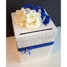 Wedding Card Box Ivory Lace, White, Royal Cerulean Blue & Pearl Single Tier. Wedding Card Holder. Wedding Money Box