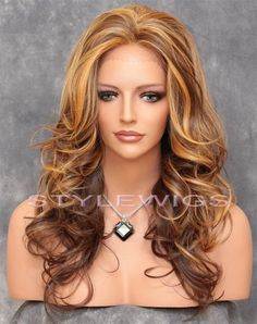 Ombre Golden Blonde & Brown Mix Long HEAT OK Curly Wavy Lace Front Wig ABBR 2217 #FullWig    I  just ordered THIS WIG, IT IS SO PRETTY !!!!!!!!
