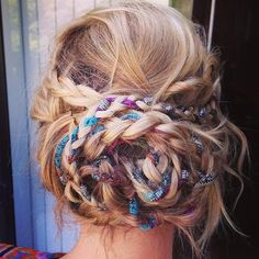 boho braided updo Cute and simple. Add a ribbon as the third strand of the braid.