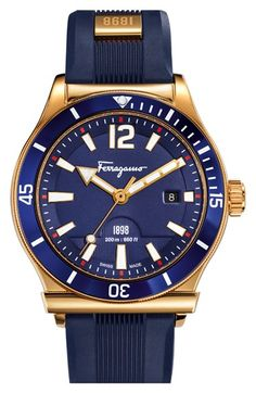 Salvatore+Ferragamo+'1898+Sport'+Rubber+Strap+Watch,+43mm+available+at+#Nordstrom