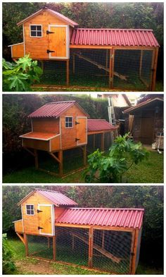 Chicken Coop - - DIY Chicken Coop From Pallets. Building a chicken coop does not have to be tricky nor does it have to set you back a ton of scratch. Chicken Coop Pallets, Diy Chicken Coop Plans, Portable Chicken Coop, Chicken Coop Designs, Chicken Tractors, Backyard Chicken Coops, Building A Chicken Coop, Chickens Backyard, Cheap Chicken Coops