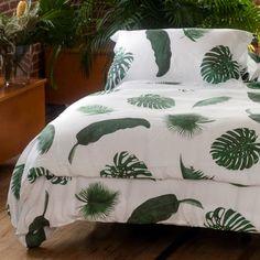 Huddleson Tropical Leaves Palm Print Linen Duvet Cover
