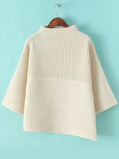 To find out about the Beige Stand Collar Asymmetrical Knit Sweater at SHEIN, part of our latest Sweaters ready to shop online today! Beige Sweater, Black Sweaters, White Turtleneck, Asymmetrical Sweater, Cold Weather Fashion, Cardigans For Women, Pullover Sweaters, Knitwear, Victoria