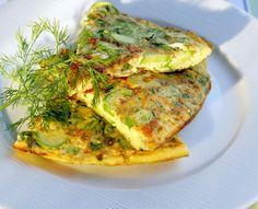 Zucchin-Feta Omelet | Greek Food - Greek Cooking - Greek Recipes by Diane Kochilas