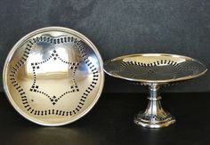 PAIR Antique MAXFIELD & SONS Pierced SILVER PLATED Tazza COMPORT Compote STANDS Antique Silver, Silver Plate, Sons, Plating, Pairs, Antiques, Ebay, Antiquities, Antique
