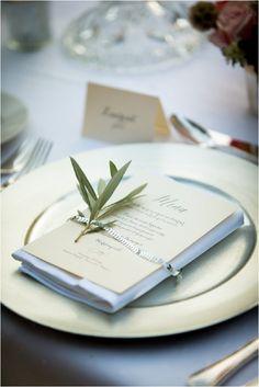 Olive leaf table setting   Image by Patrice Lariven, see more http://www.frenchweddingstyle.com/jenny-packham-dress-june-wedding-provence/
